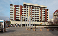 Hotel InterContinental Prague, built 1968-74, a 5-star luxury hotel on the bank of the Vltava River near the Old Town, Prague, Czech Republic. The hotel has 9 floors and 372 rooms. The facade was renovated in 1992-95 and the interior in 2002. The historic centre of Prague was declared a UNESCO World Heritage Site in 1992. Picture by Manuel Cohen