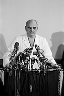 06 Dec 1967, Brooklyn, New York City, New York State, USA --- Dr. Adrian Kantrowitz, a cardiologist at the Maimonides Medical Center in Brooklyn, announces at a press conference the first heart transplant in the United States. The patient was a two-week-old boy who died six and a half hours after surgery. --- Image by © JP Laffont
