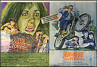 BNPS.co.uk (01202 558833)<br /> Pic: Cottees/BNPS<br /> <br /> The Vampire Lovers (1970) / Angels From Hell (1968) initial release UK double quad film poster.<br /> <br /> A horror fan has sold his chilling collection of cult movie posters - for a shocking &pound;25,000.<br /> <br /> The unnamed film buff collected over 100 posters that advertised scary movies like Dracula, Frankenstein, The Wicker Man and the Hammer Horror franchise.<br /> <br /> He has now sold them at Cottees Auctions of Wareham, Dorset, with one rare Dracula poster fetching over &pound;5,000 alone.