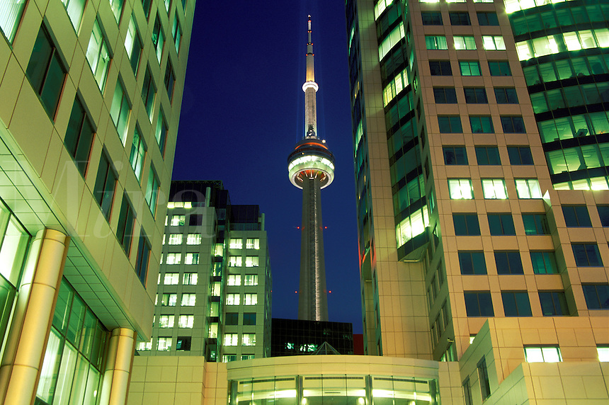 Canada, Ontario, Toronto. CN Tower and office buildings at night