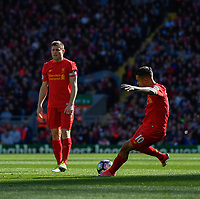 Liverpool's Philippe Coutinho scores the opening goal <br /> <br /> Photographer Terry Donnelly/CameraSport<br /> <br /> The Premier League - Liverpool v Crystal Palace - Sunday 23rd April 2017 - Anfield - Liverpool<br /> <br /> World Copyright &copy; 2017 CameraSport. All rights reserved. 43 Linden Ave. Countesthorpe. Leicester. England. LE8 5PG - Tel: +44 (0) 116 277 4147 - admin@camerasport.com - www.camerasport.com