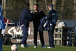 20 March 2009: Sky Blue head coach Ian Sawyers (center) with UNC head coach Anson Dorrance (left) and assistant coach Bill Palladino (right). The WPS's Sky Blue FC played the University of North Carolina Tar Heels in a preseason game at Macpherson Stadium in Brown's Summit, North Carolina.