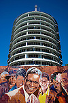Capitol Record building and mural of great recording artists in Hollywood, California