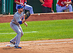 26 July 2013: New York Mets first baseman Ike Davis in action against the Washington Nationals at Nationals Park in Washington, DC. The Mets shut out the Nationals 11-0 in the first game of their day/night doubleheader. Mandatory Credit: Ed Wolfstein Photo *** RAW (NEF) Image File Available ***