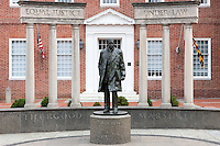 """The Thurgood Marshall Memorial in Annapolis, Maryland commemorates the ground-breaking lawyer, supreme court justice, and civil rights leader who fought for """"Equal justice under the law""""."""