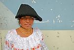South America, Ecuador, San Antonio de Ibarra.  Local Ecuadorian woman in traditional dress.