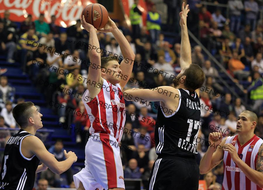 Kosarka ABA League season 2015-2016<br /> Crvena Zvezda v Partizan<br /> Gal Mekel (C) Kosta Perovic (R) and Petar Aranitovic<br /> Beograd, 03.11.2015.<br /> foto: Srdjan Stevanovic/Starsportphoto&copy;