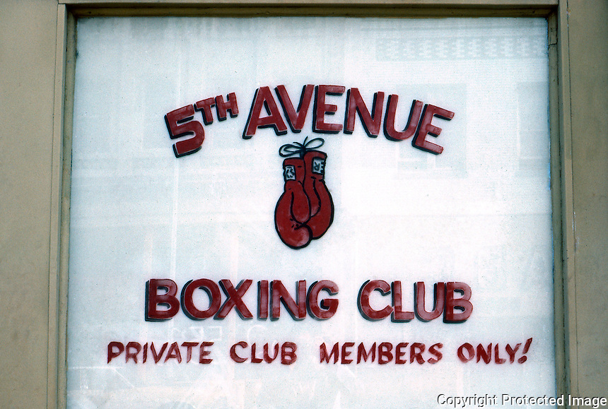San Diego: Boxing Club Sign, 5th Avenue. Photo '81.