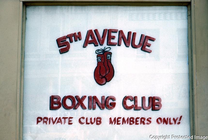 San Diego: Boxing Club Sign, 5th Avenue. Photo '81.