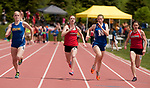 LITCHFIELD,  CT-052017JS11- Housatonic's Emily Geyselaers, left, took first place in the 100M dash with a time of 13.09 after beating Carly Gable of Northwestern; Christina Sordi of Nonnewaug and Olivia Norris of Wamogo during the Berkshire League Outdoor Track and Field Championships Saturday at the Plumb Hill Sports Complex in Litchfield. <br /> Jim Shannon Republican-American