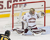 Nick Halloran (CC - 13) scores on Ryan Edquist (BC - 35). - The Boston College Eagles defeated the visiting Colorado College Tigers 4-1 on Friday, October 21, 2016, at Kelley Rink in Conte Forum in Chestnut Hill, Massachusetts.The Boston College Eagles defeated the visiting Colorado College Tiger 4-1 on Friday, October 21, 2016, at Kelley Rink in Conte Forum in Chestnut Hill, Massachusett.