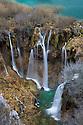 Waterfalls cascading between mountain lakes, Plitvice Lakes National Park, Croatia. January.