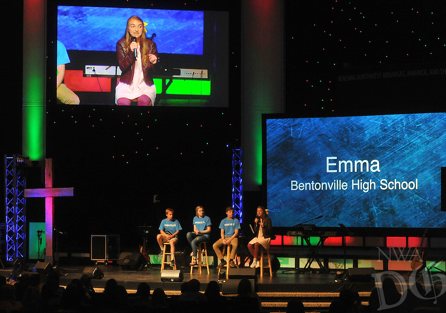 NWA Democrat-Gazette/MICHAEL WOODS &bull; @NWAMICHAELW<br /> Emma Mae Jenkins of Bentonville, joins other students as they talk on a student panel Thursday April 7, 2016, at Cross Church in Springdale during a student-led pep-rally.  The How to Life movement (#HowToLife Movement) is made up of local high school students mobilized together to reach their friends for Jesus.