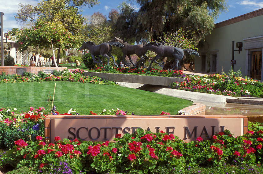 Scottsdale, Arizona, AZ, Horse sculpture at Scottsdale Civic Center and Mall in downtown Scottsdale.