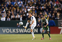Landon Donovan (10) of the Galaxy traps a ball. The LA Galaxy defeated the Portland Timbers 3-0 at Home Depot Center stadium in Carson, California on  April  23, 2011....