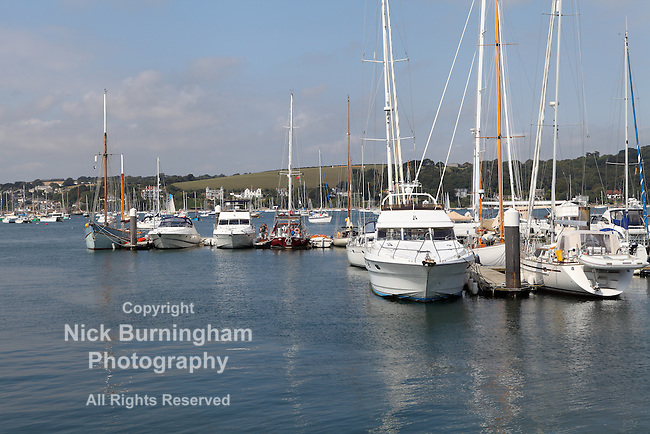 FALMOUTH, CORNWALL, UK - AUGUST 27, 2016: Views of Yacht Haven which can moor up to 100 boats in Falmouth Harbour. The harbour is the third deepest in the world and the deepest in Europe.