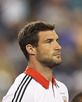 D.C. United midfielder Chris Pontius (13). In a Major League Soccer (MLS) match, the New England Revolution (blue) defeated D.C. United (white), 2-1, at Gillette Stadium on September 21, 2013.