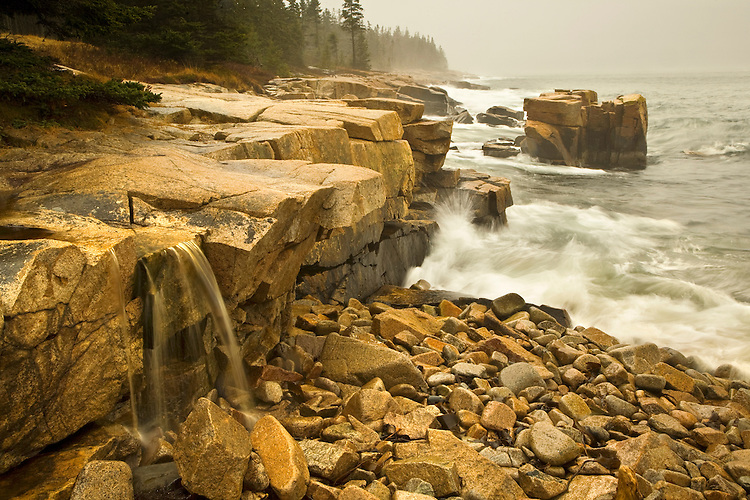 Waterfall along the shoreline of Schoodic Peninsula in Acadia National Park, Maine