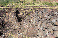An old rock wall in Kaupo, Maui.
