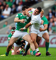 Lewis Boyce of England U20 takes on the Ireland U20 defence. World Rugby U20 Championship Final between England U20 and Ireland U20 on June 25, 2016 at the AJ Bell Stadium in Manchester, England. Photo by: Patrick Khachfe / Onside Images