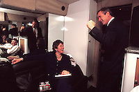17 Feb 2000, Columbia, South Carolina, USA --- Republican presidential candidate Texas Governor George W. Bush celebrates a victory in the South Carolina primary with senior advisor Karen Hughes aboard his campaign bus. --- Image by © Brooks Kraft/Corbis