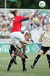26 July 2009: Nicole Barnhart (1) of FC Gold Pride punches a ball out of the box.  Saint Louis Athletica tied the visiting FC Gold Pride 1-1 in a regular season Women's Professional Soccer game at Anheuser-Busch Soccer Park, in Fenton, MO.