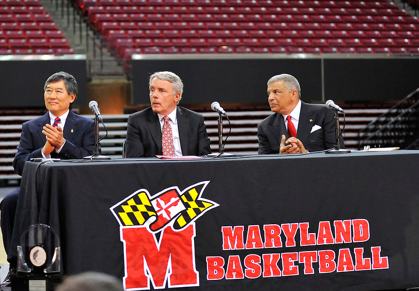 Head coach Gary Williams of the Maryland Terrapins during a press conference to officially announce his retirement after coaching the Terrapins for 22 years  at the Comcast Center in College Park, MD on Friday, May 6, 2011. Alan P. Santos/DC Sports Box.