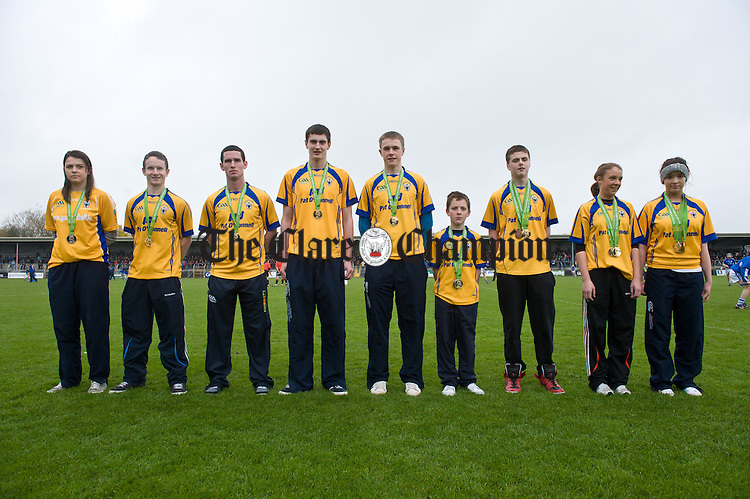 Clare's successful World Championship handballers who were honoured during the senior county hurling final at Cusack Park. Photograph by John Kelly.