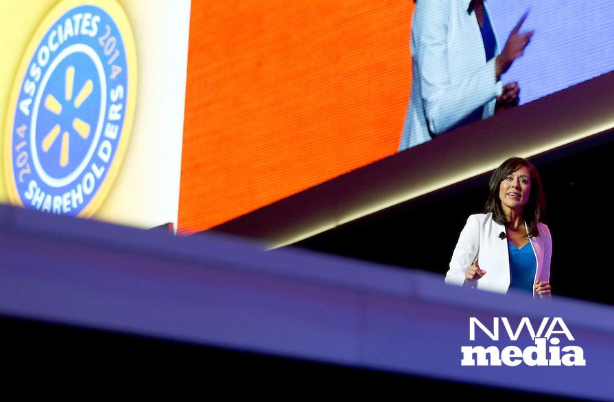 NWA Media/JASON IVESTER --06/04/2014--<br /> Gisel Ruiz, Walmart U.S. Chief Operating Officer, speaks on stage on Wednesday, June 4, 2014, during the U.S. Associates Meeting inside Bud Walton Arena in Fayetteville as part of Walmart Shareholders Week.