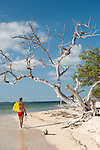 Gardens of the Queen, Cuba; a woman in a red bikini, carrying yellow fins, is walking on a beach beneath a picturesque dead tree