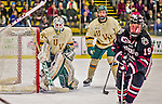 17 December 2013:  University of Vermont Catamount Goaltender Mike Santaguida, a Freshman from Mississauga, Ontario, in first period action against the Northeastern University Huskies at Gutterson Fieldhouse in Burlington, Vermont. The Huskies shut out the Catamounts 3-0 to end UVM's 5 game winning streak. Mandatory Credit: Ed Wolfstein Photo *** RAW (NEF) Image File Available ***