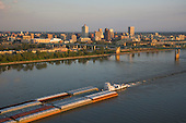 Barge on Mississippi River with Memphis skyline