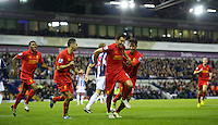 WEST BROMWICH, ENGLAND - Wednesday, September 26, 2012: Liverpool's Nuri Sahin celebrates scoring the second goal against West Bromwich Albion during the Football League Cup 3rd Round match at the Hawthorns. (Pic by David Rawcliffe/Propaganda)