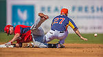 7 March 2013: Washington Nationals outfielder Corey Brown is safe at second as Jose Altuve cannot hold onto the ball during a Spring Training game against the Houston Astros at Osceola County Stadium in Kissimmee, Florida. The Astros defeated the Nationals 4-2 in Grapefruit League play. Mandatory Credit: Ed Wolfstein Photo *** RAW (NEF) Image File Available ***