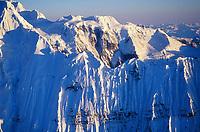Knife edge ridge of the Grand Parapet, Wrangell St. Elias mountain range, Wrangell St. Elias National Park, Alaska