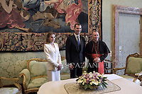 Cardinal Pietro Parolin  with Spain's King Felipe VI  and Queen Letizia  during a private audience at the Vatican on June 30, 2014.