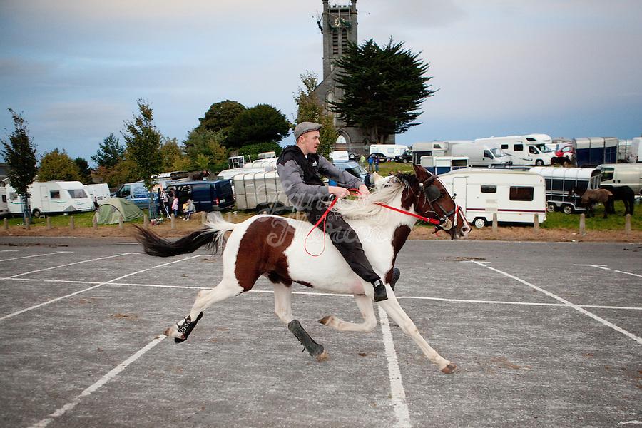 2/10/2010.  A traveler rides bare backed at the Ballinasloe Horse Fair, Ballinasloe, County Galway, Ireland. Picture James Horan