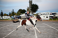 2/10/2010.  A traveler rides bare backed at the Ballinasloe Horse Fair, Ballinasloe, County Galway, Ireland. Picture James Horan