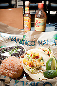 October 7, 2011. Durham, NC.. The mahi mahi tacos, with black beans and rice.. NanaTaco, which recently opened in the Rockwood shopping area, specializes in tacos, mole, and burritos.