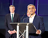 Mayor of London and London Assembly results announcement at City Hall, London, Great Britain <br /> 6th May 2016 <br /> <br /> Zac Goldsmith - Conservative<br /> <br /> <br /> <br /> Sadiq Khan - Labour <br /> <br /> <br /> <br /> The winner was Sadiq Khan who is appointed the new mayor of London <br /> <br /> <br /> <br /> Photograph by Elliott Franks <br /> Image licensed to Elliott Franks Photography Services