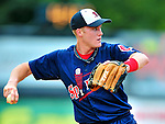 24 July 2010: Lowell Spinners infielder Kolbrin Vitek warms up prior to a game against the Vermont Lake Monsters at Centennial Field in Burlington, Vermont. The Spinners defeated the Lake Monsters 11-5 in NY Penn League action. Mandatory Credit: Ed Wolfstein Photo