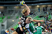 Barbara Varlec Lazovic of Krim vs Heidi Loke of Gyori  during handball match between RK Krim Mercator and Gyori Audi ETO KC (HUN) in 3rd Round of Group B of EHF Women's Champions League 2012/13 on October 28, 2012 in Arena Stozice, Ljubljana, Slovenia. (Photo By Vid Ponikvar / Sportida)