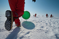Scientists and crew of the icebreaker Healy enjoy a game of kickball.
