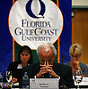 Willam Merwin composes himself after resigning from his role as president of Florida Gulf Coast University because he had an inappropriate relationship with a female faculty member. In an emergency Florida Gulf Coast University Board of Trustees meeting Merwin announced to a packed room about his retirement due to his affair. Erik Kellar/Staff