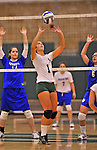 28 October 2012: Old Westbury Panthers Kimberly Catania, a Junior from Islip, NY, in action against the Yeshiva University Maccabees at SUNY Old Westbury in Old Westbury, NY. The Panthers defeated the Maccabees 3-0 in NCAA women's volleyball play. Mandatory Credit: Ed Wolfstein Photo