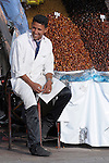 A man selling dates smiles in Marrakesh, Morocco