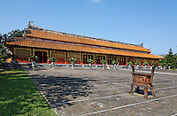 The Mieu temple  devoted to ten Emperors of the Nguyen dynasty,courtyard and Incense burner. Hue Citadel / Imperial City, Hue, Vietnam