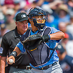 14 March 2016: Tampa Bay Rays catcher Hank Conger in action during a pre-season Spring Training game against the Atlanta Braves at Champion Stadium in the ESPN Wide World of Sports Complex in Kissimmee, Florida. The Ray fell to the Braves 5-0 in Grapefruit League play. Mandatory Credit: Ed Wolfstein Photo *** RAW (NEF) Image File Available ***