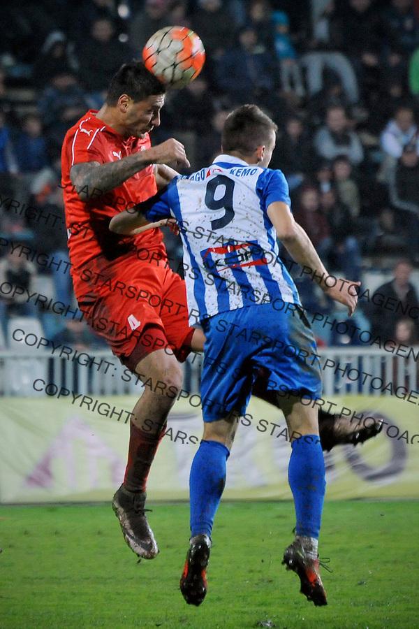 Fudbal Jelen Super League season 2016-2017<br /> Novi Pazar v Napredak (Krusevac)<br /> Bojan Miladinovic (L) i Anes Rusevic (D)<br /> Novi Pazar, 22. 10. 2016<br /> foto: Emir Sadovic/Starsportphoto &copy;