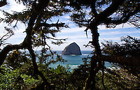 The view from atop Cape Kiwanda Point looking out towards Haystack Rock, Pacific City Oregon.The Oregon Coast, a classic, beautiful road trip. Heading West from Portland to Tillamook, with a detour to the fishing village of Garibaldi, through Cape Lookout State Park and on to our final destination of Pacific City.